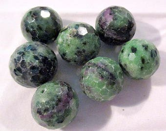 Ruby Fuchsite - ref9516 - drilled - faceted - 16mm - 7 x - € 16.99