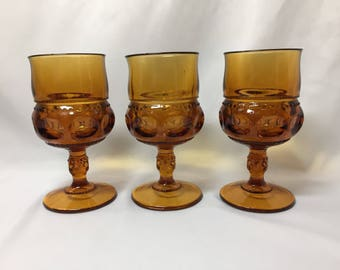 Wine Glasses Water Goblets Amber King's Crown Thumbprint Tiffin - set of 3