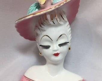 Lefton Eyelash Lady Head Pink Hat Vintage Vase Planter