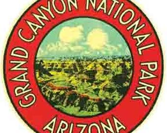 Vintage Style Grand Canyon National Park Arizona 2  Travel Decal sticker