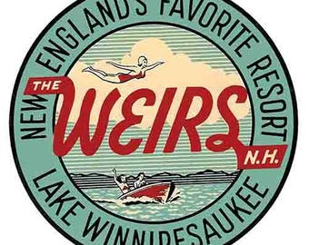 Vintage Style Weirs Beach NH New Hampshire  Lake Winnipesaukee    Travel Decal sticker