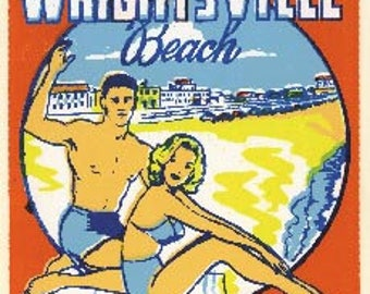 Vintage Style Wrightsville Beach NC  Wilmington  North Carolina Outer Banks Lighthouse   Travel Decal sticker