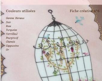 La cage aux oiseaux - Fiche créative peinture sur porcelaine