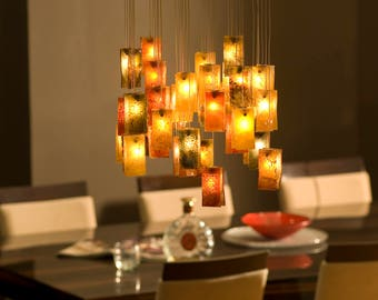 "Decorative Exclusive Glass Chandelier ""The Fall"" 27, Handmade For Home Lighting and Cozy Atmosphere"