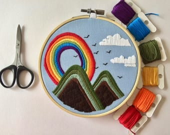70s Inspired Rainbow Embroidery