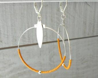 Silver Hoop, ochre yellow miyuki beads