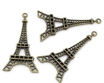 2 charms/pendants large Eiffel Tower metal bronze