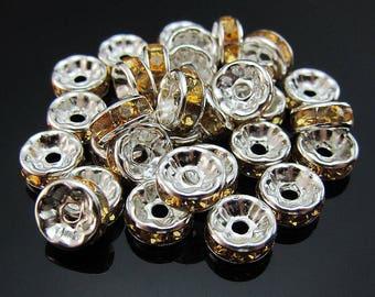Orange flat beads made of aluminum and rhinestones (x 20)