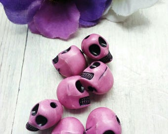 SET OF 6 BEADS DISTRESSED 12 MM ACRYLIC SKULL OLD PINK