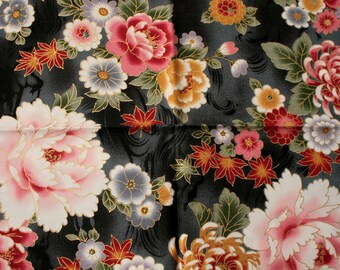 "Robert Kaufman ""Impérial"" coupon Fat Quarter Patchwork flowers background black - 55 cm x 45 cm"