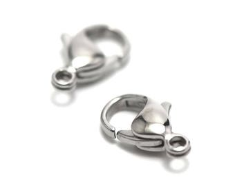 4 stainless steel 15 mm stainless steel lobster clasps