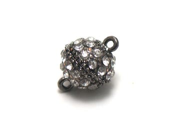 1 clasps magnetic large 18 x 13 mm, gun-metal rhinestone ball