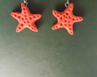 Orange sea star earrings