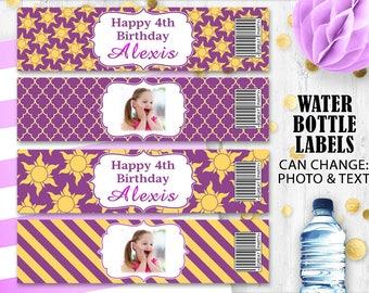 Rapunzel Water bottle labels Photo labels Princess Rapunzel birthday party labels Tangled labels