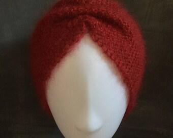 Red mohair wool headband