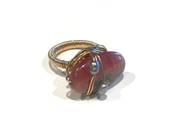 Rhodonite Ring Pink Stone Ring, Pink and Black Stone, Pearls, Dark Pearls, Ring, Beaded Jewelry