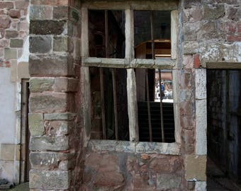 Rufford Abbey Old window, brick wall and doorway A3 jpeg digital download of photographic image