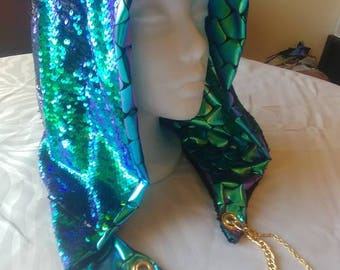 Mermaid Sequin Metallic Reversible Chained Festival Hood - blue green black - stash pocket - burning man playa rave festival fashion