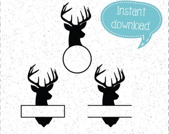 Bucks SVG, Deer Head SVGs, Monogram Buck SVGs, SVGs, Cricut Cut File, Silhouette File