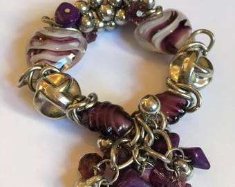 Kitchy purple loveheart bracelet