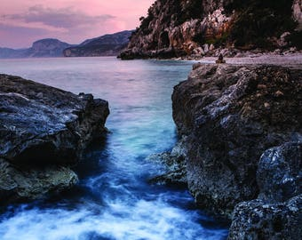 Beach photography print ocean travel photo Italy Sardinia water sunset pink and blue