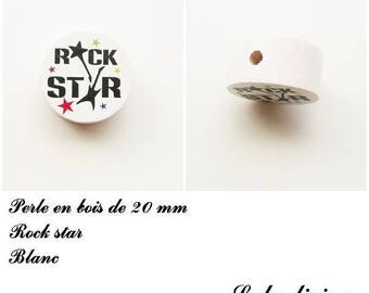 Wooden bead of 20 mm, flat bead, Rock star: white