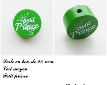Wooden bead with 20 mm flat bead, little prince, Crown: medium Green