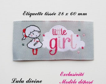 Woven label - little girl - 28 x 60 mm, grey cloud little girl