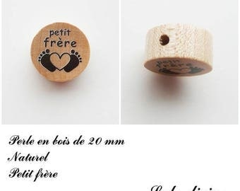 20 mm wooden bead, Pearl flat, little brother: natural