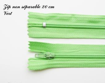 Simple not separable 20 cm zip 1: Green