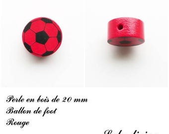 Wooden bead of 20 mm, flat bead, soccer ball: Red