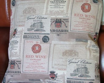 Pillow cover labels wine upholstery fabric