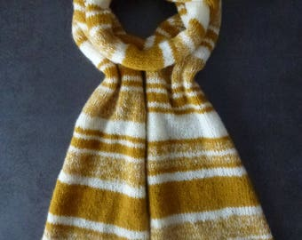 Handmade large trendy yellow saffron/mustard and ivory knit scarf