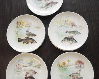 Beautiful porcelain fish plates * Vintage