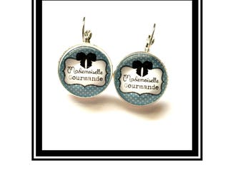 "Earrings original and funny,""Miss gourmet""customized"