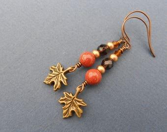 Autumn earrings,Boho earings,Multicolour earrings,Drop earrings,Leaf earrings,Goldstone earrings,Quartz earrings,Dangling earrings
