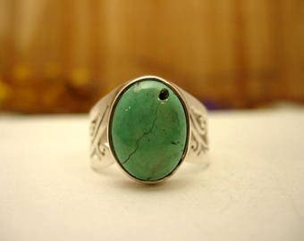 Silver ring and stone Turquoise T58