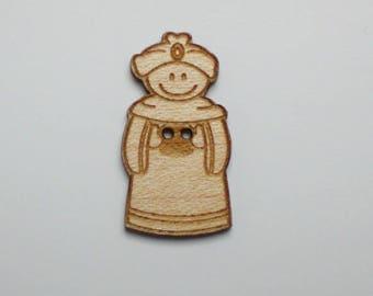 7 buttons Caspar Maplewood 2.5 cm - set of 7 buttons wood King mage caspar - Caspar wooden decorative button