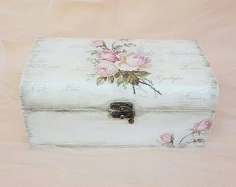 Rustic jewelry box, Shabby chic jewelry holder, Jewelry holder rustic, Wooden jewelry box, Jewelry box decoupage, Rustic storage jewelry box