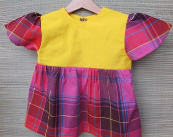 tunic d was 6 years old girl pink and yellow Madras