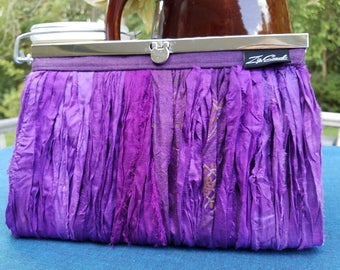 Elegant Clutch with Diva Frame; Textured Exterior with Silk Strips, Multiple fabrics in Purples and Blues; Gifts for Her; Bridesmaids Gift