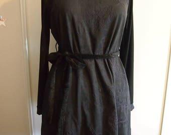 Black embroidered velvet dress