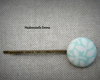 Floral fabric and metal Barrette