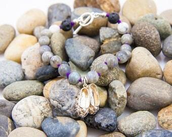 Labradorite and Ballet Slippers Vintage Silver Charm Bracelet
