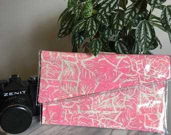Pink Roses- Linoprinted Clutch