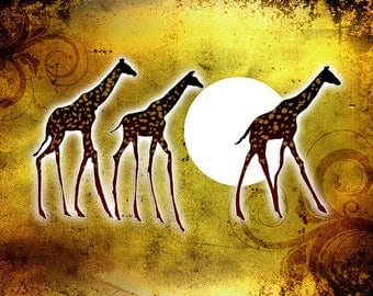 ORIGINAL design, durable and WASHABLE PLACEMAT - return of giraffes under the full moon.