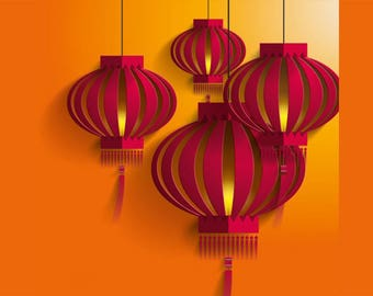 SEMI-rigid PLACEMAT, ORIGINAL, plastic, WASHABLE and durable - far East - lanterns Chinese 2.