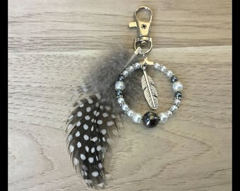 Bag charm, feather and glass pearls-