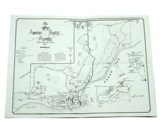 1957 American Baptist Assembly Map.  Green Lake, Wisconsin.  Religion, Church.