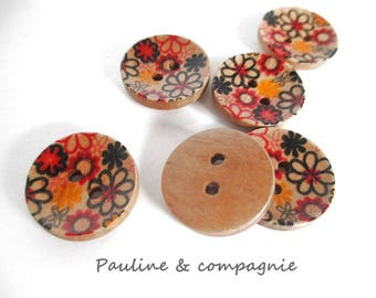 8 fancy floral wooden buttons liberty 1.6 cm diameter